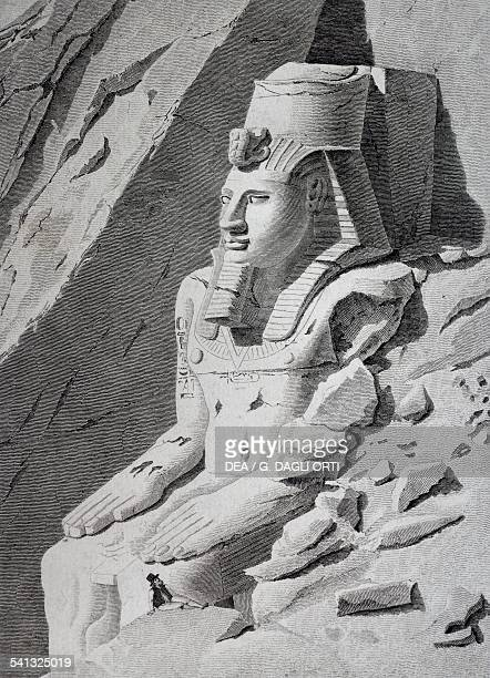 Giovanni Battista Belzoni near the statue of Ramesses II at Abu Simbel engraving Egypt 19th century