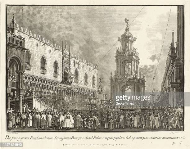 Giovanni Battista Brustolon after Canaletto The Doge Attends the Giovedi Grasso Festival in the Piazzetta 17631766 etching and engraving on laid paper