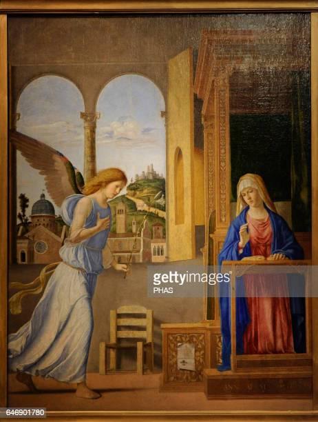 Giovanni Battista Cima da Conegliano Italian Renaissance painter The Annunciation 1495 Oil on canvas The State Hermitage Museum Saint Petersburg...