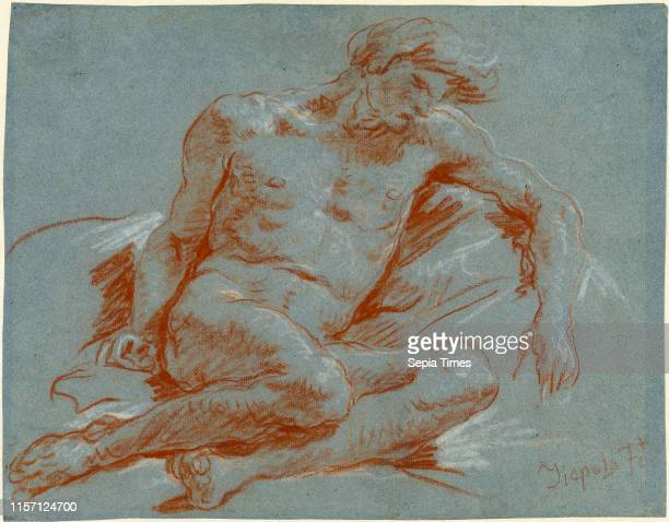 Giovanni Battista Tiepolo Seated Male Nude 17521753 red chalk heightened with white chalk on blue laid paper