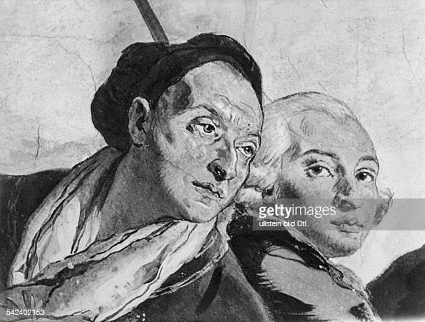 Giovanni Battista Tiepolo*16961770Bildender Künstler Maler ItalienSelbstbildnis mit seinem Sohn Domenico aus dem Deckenfresko im Treppenhaus der...