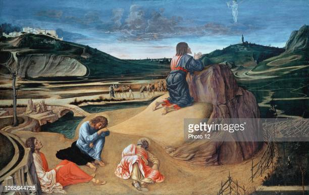 Giovanni Bellini, Italian school. The Agony in the Garden. About 1458-1460. Egg tempera on panel . London, National Gallery.