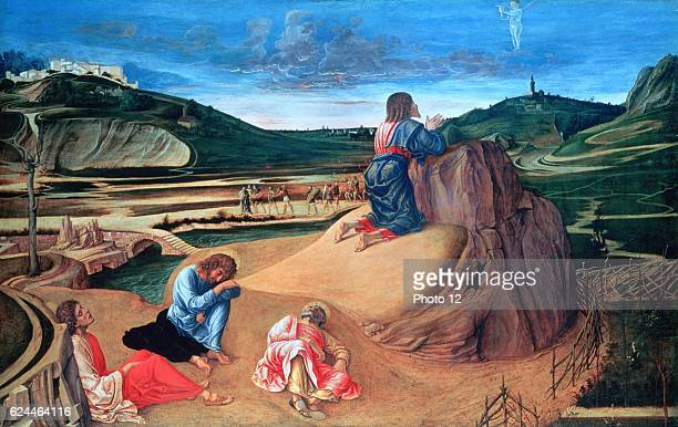 Giovanni Bellini Italian school The Agony in the Garden Christ praying in the Garden of Gethsemane while Saints Peter John and James sleep Tempera on...