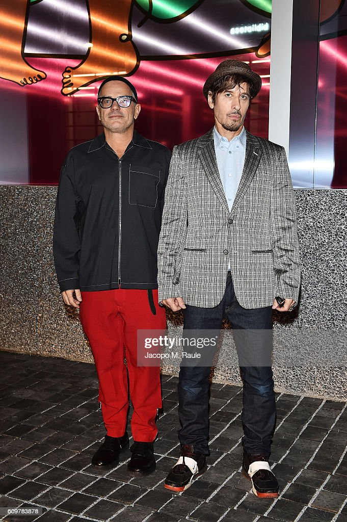 Giovanni Bianco and Steven Klein attend Miuccia Prada and Patrizio Bertelli private screening of a short movie by David O. Russell and dinner party at Fondazione Prada during Milan Fashion Week Spring/Summer 2017 on September 22, 2016 in Milan, Italy.