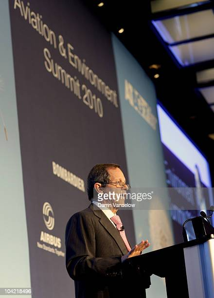 Giovanni Bisignani Director General CEO of IATA addresses the fifth Aviation Environment Summit at the Hotel President Wilson on September 17 2010 in...