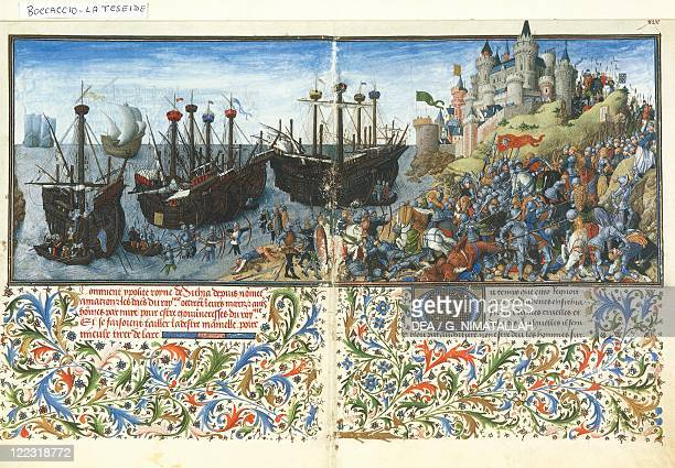 Giovanni Boccaccio , Teseide, 1339-1341. Theseid of the Nuptials of Emilia, Theseus' Greek soldiers against the Amazons led by Queen Hippolyta....