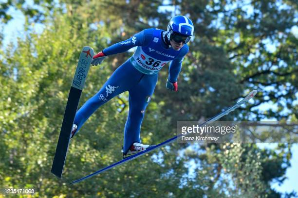 Giovanni Bresadola of Italy competes during the FIS Grand Prix Skijumping Hinzenbach at on February 6, 2021 in Eferding, Austria.