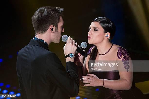 Giovanni Caccamo and Deborah Iurato attends the 66th Sanremo Music Festival on February 9 2016