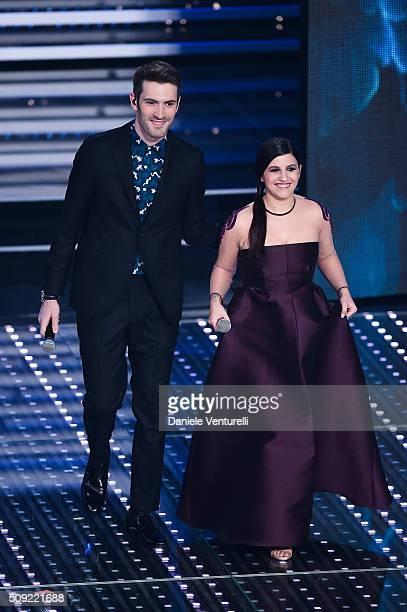 Giovanni Caccamo and Deborah Lurato attend the opening night of the 66th Festival di Sanremo 2016 at Teatro Ariston on February 9 2016 in Sanremo...