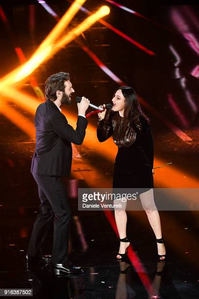 Giovanni CaccamoÊand Arisa attend the fourth night of the 68 Sanremo Music Festival on February 9 2018 in Sanremo Italy