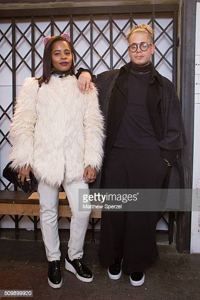 Giovanni Cachola Dame Browne attend the Damnsel 'Garmeoplasty' presentation during Fall 2016 New York Fashion Week on February 12 2016 in New York...