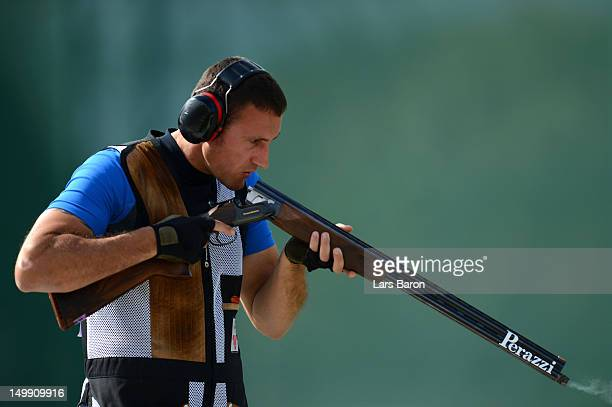 Giovanni Cernogoraz of Croatia competes in the Men's Trap Shooting Final on Day 10 of the London 2012 Olympic Games at the Royal Artillery Barracks...
