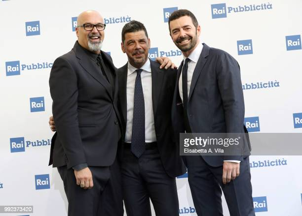 Giovanni Ciacci Salvo Sottile and Alberto Matano attend the Rai Show Schedule presentation on July 5 2018 in Rome Italy