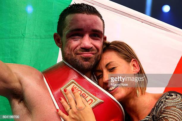 Giovanni De Carolis of Italy celebrate victory after defeating Vincent Feigenbutz of Germany after the WBA SuperMiddleweight championship title fight...