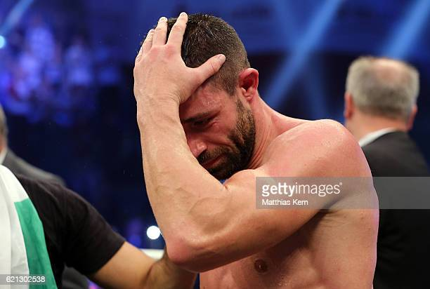 Giovanni De Carolis of Italy shows his frustration after loosing the WBA Super Middleweight World Championship title fight between Giovanni De...
