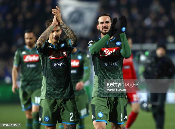 Giovanni Di Lorenzo and Fabian Ruiz of SSC Napoli celebrate a victory at the end of the Serie A match between Brescia Calcio and SSC Napoli at Stadio...