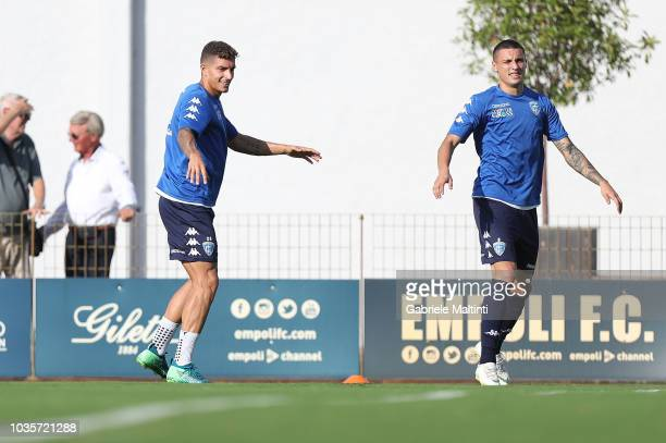 Giovanni Di Lorenzo and Rade Krunic of Empoli FC in action during training session on September 18 2018 in Empoli Italy