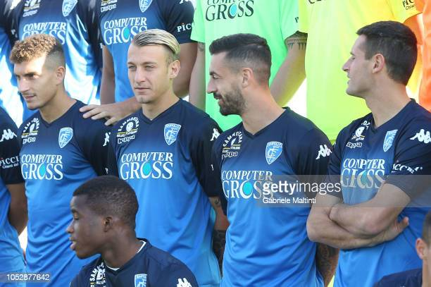 Giovanni Di Lorenzo Antonino La Gumina and Francesco Caputo of Empoli FC during Empoli FC Official Team Photo on October 24 2018 in Empoli Italy
