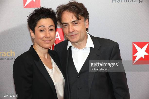 Giovanni di Lorenzo chief editor Die Zeit and Dunja Hayali arriving at the awarding of the Nannen prize in Hamburg Germany 27 April 2017 Photo Georg...