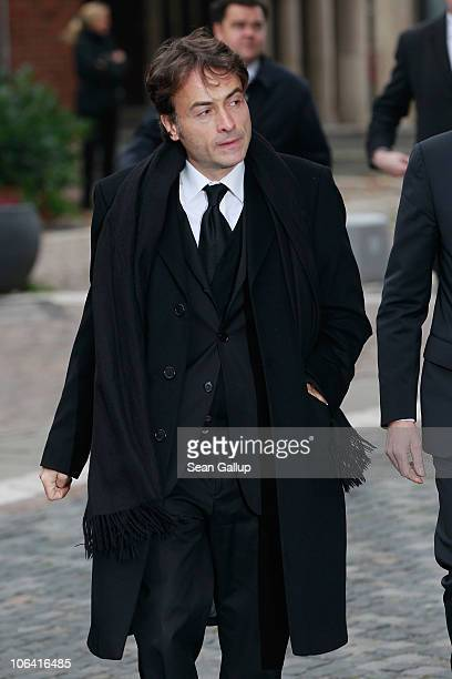 Giovanni di Lorenzo Editor in Chief of Die Zeit arrives for the memorial service for Loki Schmidt wife of former German Chancellor Helmut Schmidt at...