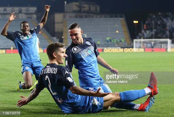 Giovanni Di Lorenzo of Empoli FC celebrates after scoring a goal during the Serie A match between Empoli and SSC Napoli at Stadio Carlo Castellani on...