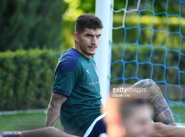 Giovanni Di Lorenzo of Italy in action during an Italy training session at Centro Tecnico Federale di Coverciano on June 13, 2021 in Florence, Italy.