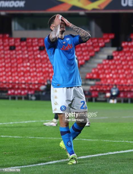 Giovanni Di Lorenzo of Napoli reacts during the UEFA Europa League Round of 32 match between Granada CF and SSC Napoli at Nuevo Estadio Los Carmenes...