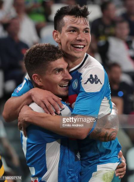 Giovanni Di Lorenzo of SSC Napoli celebrates after scoring the third goal of his team with his teammate Hirving Lozano during the Serie A match...