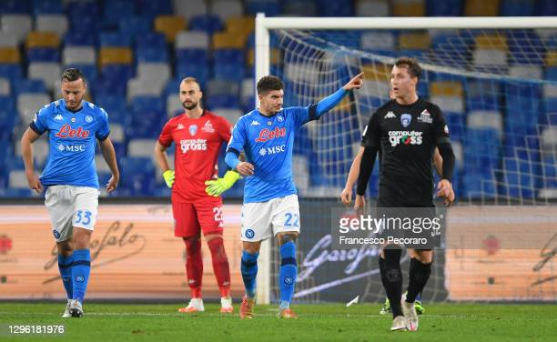 Giovanni Di Lorenzo of S.S.C. Napoli celebrates after scoring their team's first goal during the Coppa Italia match between SSC Napoli and Empoli FC...