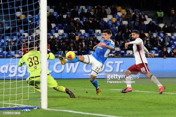 Giovanni Di Lorenzo of SSC Napoli scores the 20 goal during the Serie A match between SSC Napoli and Torino FC at Stadio San Paolo on February 29...