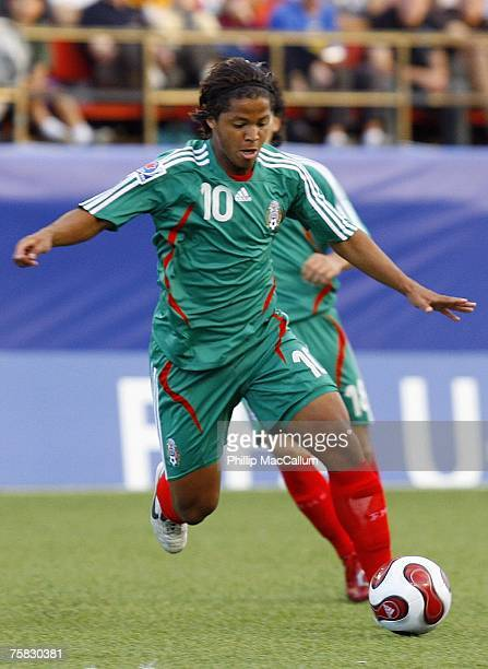 Giovanni Dos Santos of Mexico looks to control the ball in their quarterfinal match of the FIFA U20 2007 World Cup against Argentina at Frank Clair...