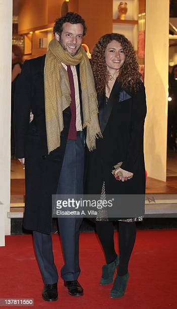Giovanni Gaetani dell'Aquila d'Aragona and wife Ginevra Elkann attend Maison Louis Vuitton Roma Etoile Cocktail - Red Carpet on January 27, 2012 in...