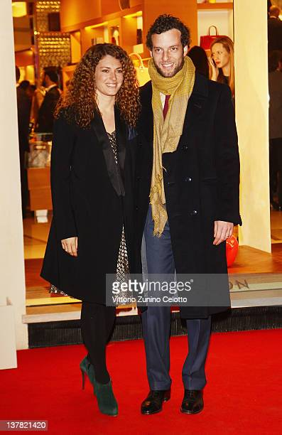 Giovanni Gaetani dell'Aquila d'Aragona and wife Ginevra Elkann attend the Maison Louis Vuitton Roma Etoile Cocktail red carpet on January 27 2012 in...