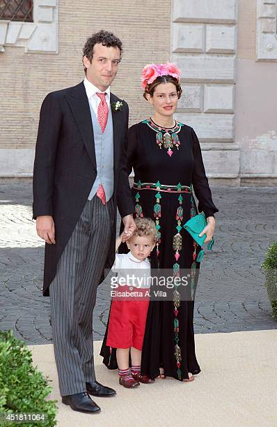 Giovanni Gaetani dell'Aquila d'Aragona and wife Ginevra Elkann attend the wedding of Prince Amedeo of Belgium and Elisabetta Maria Rosboch Von...