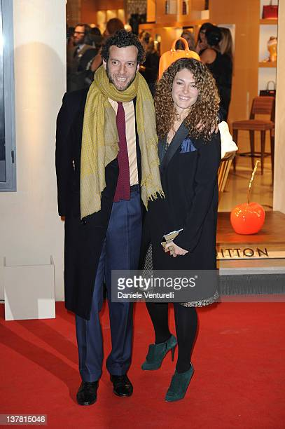 Giovanni Gaetani dell'Aquila d'Aragona and wife Ginevra Elkann attends the 'Maison Louis Vuitton Roma Etoile' Cocktail on January 27 2012 in Rome...