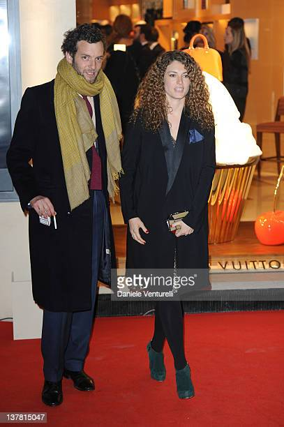 Giovanni Gaetani dell'Aquila d'Aragona and wife Ginevra Elkann attends the 'Maison Louis Vuitton Roma Etoile' Cocktail on January 27, 2012 in Rome,...