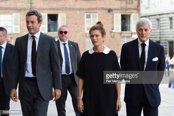 Giovanni Gaetani dell'Aquila d'Aragona, Ginevra Elkann and Alain Elkann arrive at the memorial service for Sergio Marchionne at Duomo on September...