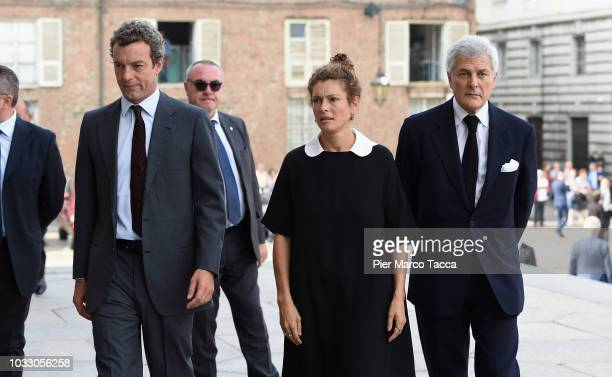 Giovanni Gaetani dell'Aquila d'Aragona Ginevra Elkann and Alain Elkann arrive at the memorial service for Sergio Marchionne at Duomo on September 14...