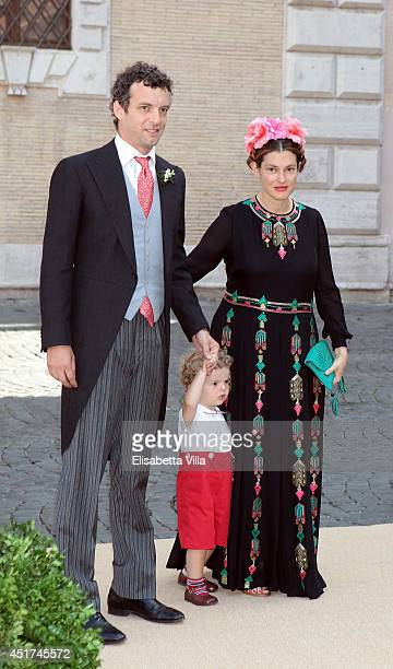 Giovanni Gaetani Dell'Aquila D'Aragona wife Ginevra Elkann and their son attend the wedding of Prince Amedeo Of Belgium and Elisabetta Maria Rosboch...