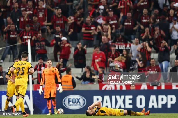 Giovanni Gonzalez of Uruguay's Penarol reacts during their 2018 Copa Sudamericana football match against Brazil's Atletico Paranaense at the Arena da...