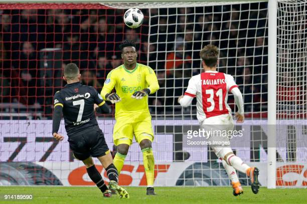 Giovanni Korte of NAC Breda Andre Onana of Ajax Nico Tagliafico of Ajax during the Dutch Eredivisie match between Ajax v NAC Breda at the Johan...