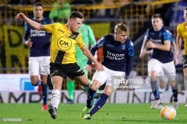 Giovanni Korte of NAC Breda Martin Odegaard of Vitesse during the Dutch Eredivisie match between NAC Breda v Vitesse at the Rat Verlegh Stadium on...