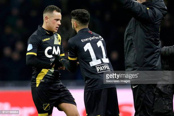 Giovanni Korte of NAC Breda Paolo Fernandes of NAC Breda during the Dutch Eredivisie match between Ajax v NAC Breda at the Johan Cruijff Arena on...