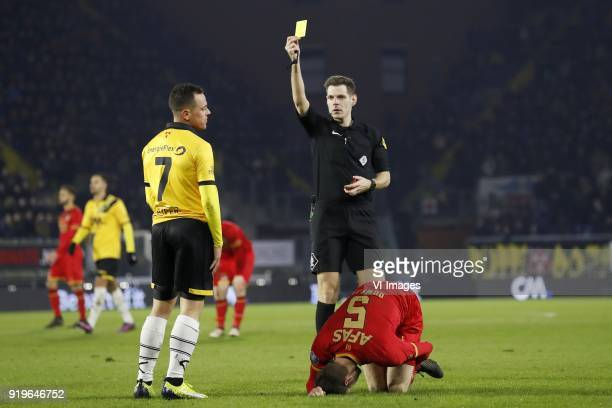 Giovanni Korte of NAC Breda referee Jochem Kamphuis Thomas Ouwejan of AZ during the Dutch Eredivisie match between NAC Breda and AZ Alkmaar at the...