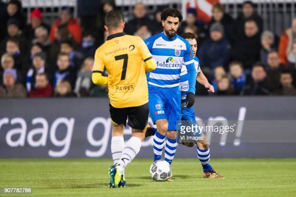 Giovanni Korte of NAC Breda Youness Mokhtar of PEC Zwolle Bram van Polen of PEC Zwolle during the Dutch Eredivisie match between PEC Zwolle and NAC...