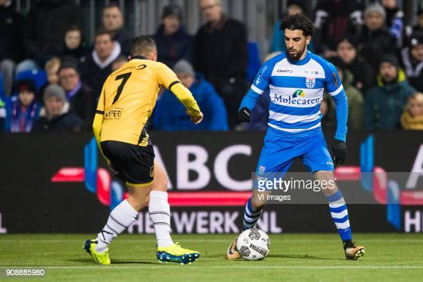 Giovanni Korte of NAC Breda Youness Mokhtar of PEC Zwolle during the Dutch Eredivisie match between PEC Zwolle and NAC Breda at the MAC3Park stadium...