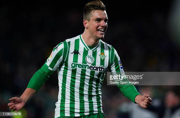 Giovanni Lo Celso of Real Betis celebrates scoring his team's second goal during the Copa del Rey Quarter Final match between Real Betis and RCD...
