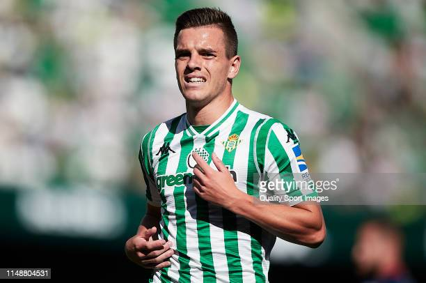 Giovanni Lo Celso of Real Betis looks on during the La Liga match between Real Betis Balompie and SD Huesca at Estadio Benito Villamarin on May 12...