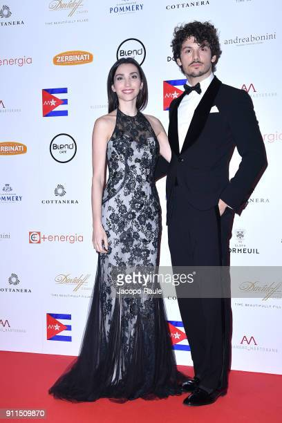 Giovanni Masiero and Francesca Rocco attend the Alessandro Martorana Party on January 28 2018 in Milan Italy