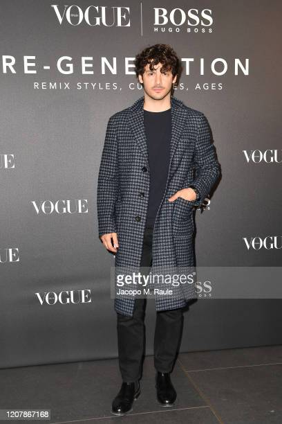 Giovanni Masiero arrives for the BOSS VOGUE Italia Event at Hotel Viu Milan on February 21 2020 in Milan Italy